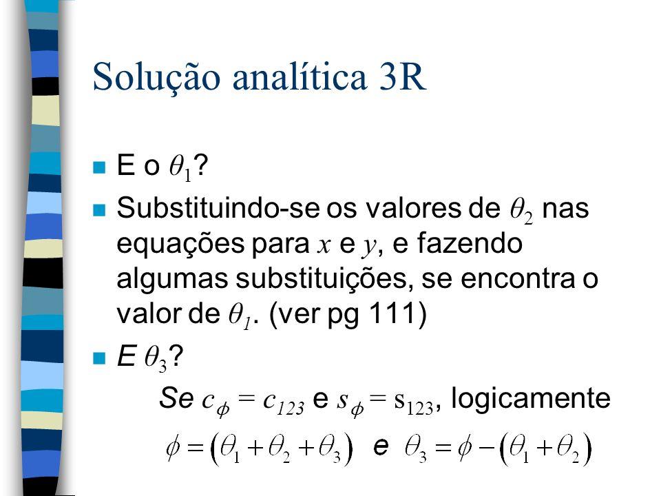 Solução analítica 3R E o θ 1 ? Substituindo-se os valores de θ 2 nas equações para x e y, e fazendo algumas substituições, se encontra o valor de θ 1.
