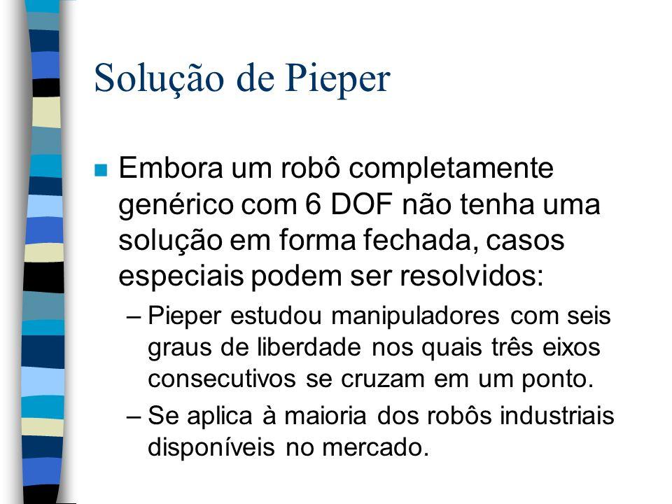 Solução de Pieper n Embora um robô completamente genérico com 6 DOF não tenha uma solução em forma fechada, casos especiais podem ser resolvidos: –Pie