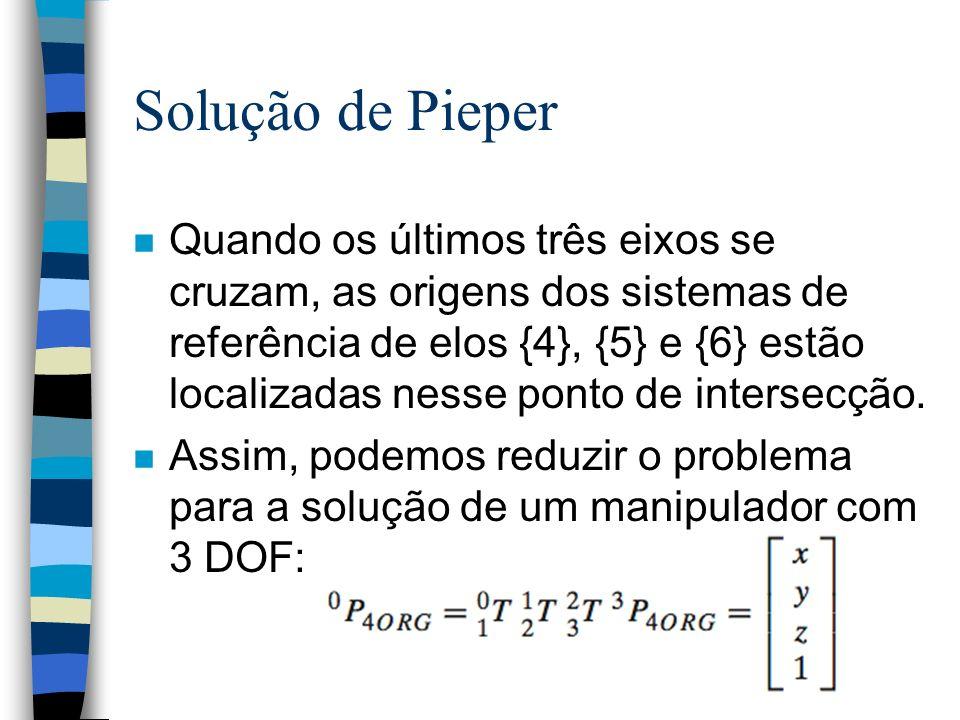 Solução de Pieper n Quando os últimos três eixos se cruzam, as origens dos sistemas de referência de elos {4}, {5} e {6} estão localizadas nesse ponto