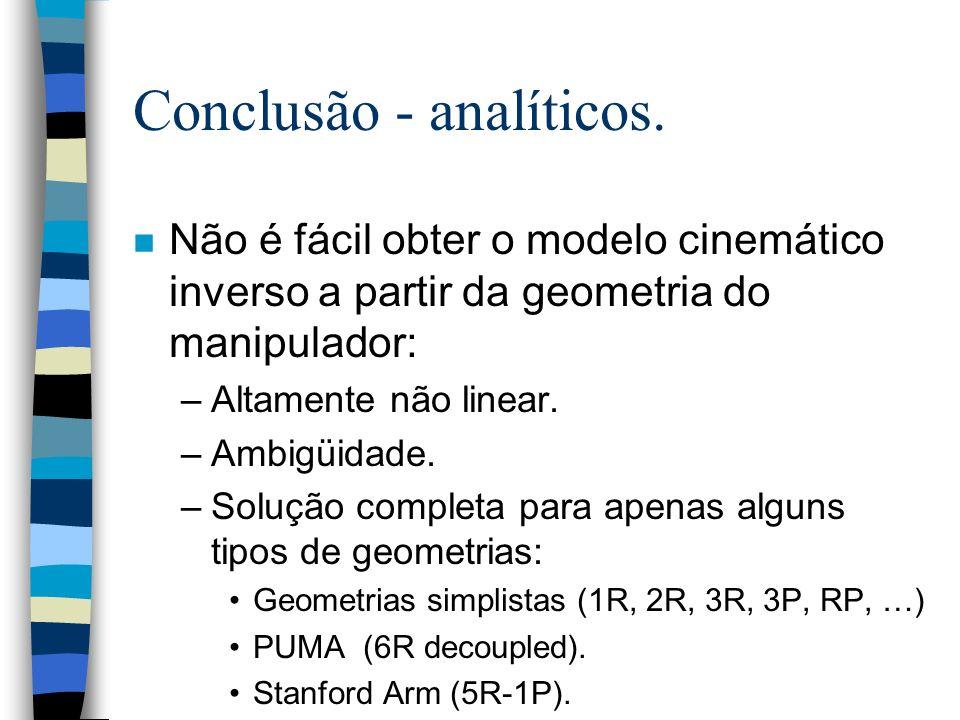 Conclusão - analíticos. n Não é fácil obter o modelo cinemático inverso a partir da geometria do manipulador: –Altamente não linear. –Ambigüidade. –So