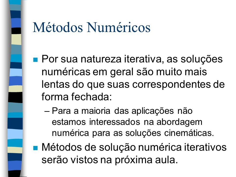 Métodos Numéricos n Por sua natureza iterativa, as soluções numéricas em geral são muito mais lentas do que suas correspondentes de forma fechada: –Pa