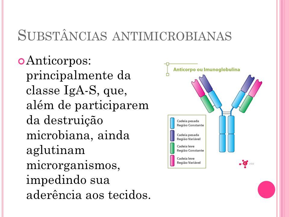 S UBSTÂNCIAS ANTIMICROBIANAS Anticorpos: principalmente da classe IgA-S, que, além de participarem da destruição microbiana, ainda aglutinam microrgan