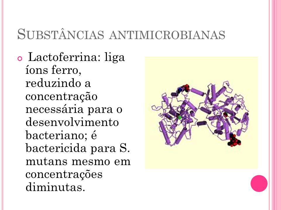 S UBSTÂNCIAS ANTIMICROBIANAS Lactoferrina: liga íons ferro, reduzindo a concentração necessária para o desenvolvimento bacteriano; é bactericida para