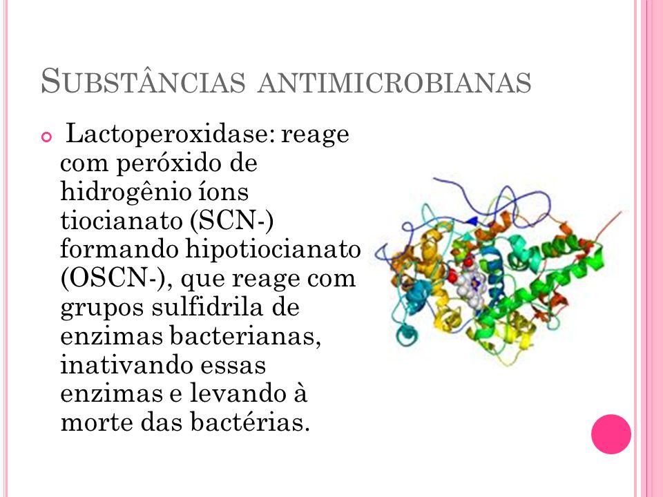 S UBSTÂNCIAS ANTIMICROBIANAS Lactoperoxidase: reage com peróxido de hidrogênio íons tiocianato (SCN-) formando hipotiocianato (OSCN-), que reage com g