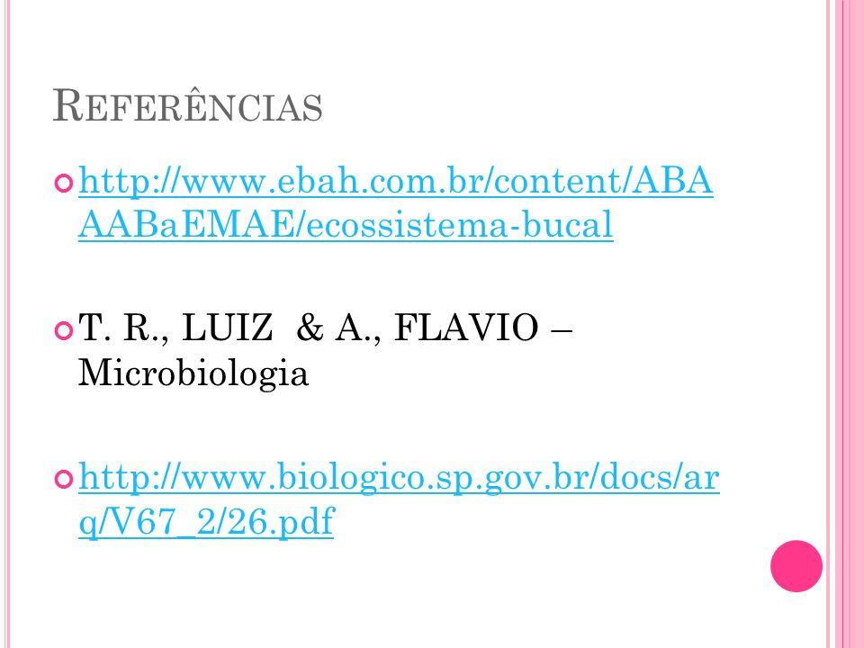 R EFERÊNCIAS http://www.ebah.com.br/content/ABA AABaEMAE/ecossistema-bucal http://www.ebah.com.br/content/ABA AABaEMAE/ecossistema-bucal T. R., LUIZ &