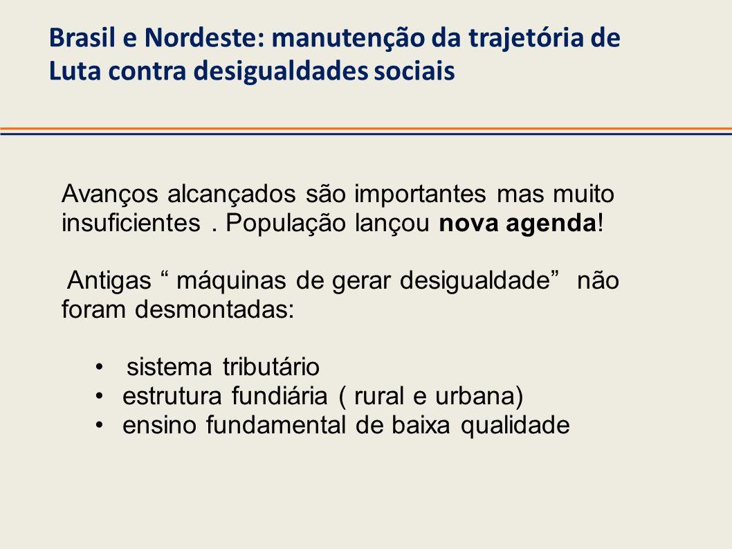Brasil e Nordeste: manutenção da trajetória de Luta contra desigualdades sociais Avanços alcançados são importantes mas muito insuficientes. População