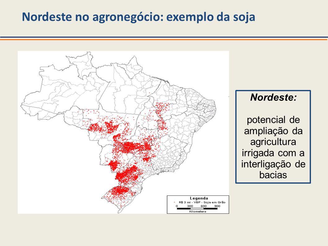 Nordeste no agronegócio: exemplo da soja Nordeste: potencial de ampliação da agricultura irrigada com a interligação de bacias