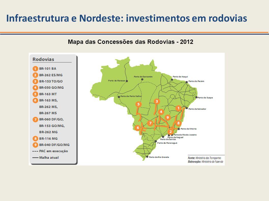 Infraestrutura e Nordeste: investimentos em rodovias Mapa das Concessões das Rodovias - 2012