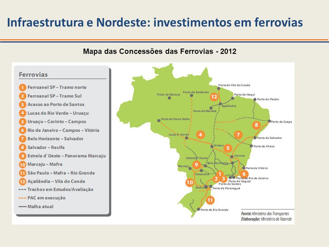 Fonte: MT Mapa das Concessões das Ferrovias - 2012 Infraestrutura e Nordeste: investimentos em ferrovias