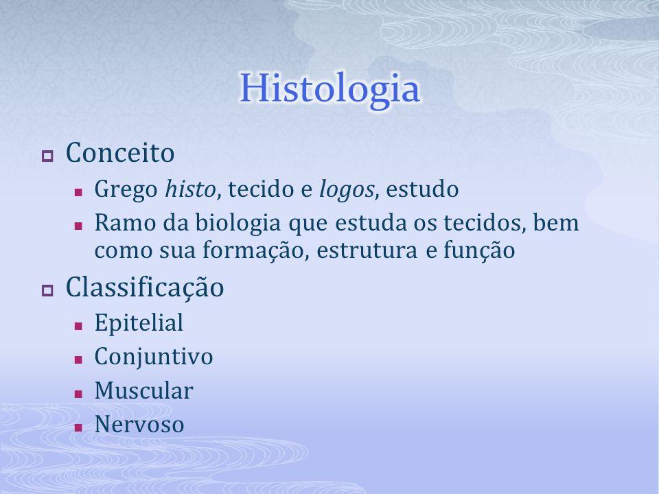 Conceito Grego histo, tecido e logos, estudo Ramo da biologia que estuda os tecidos, bem como sua formação, estrutura e função Classificação Epitelial Conjuntivo Muscular Nervoso