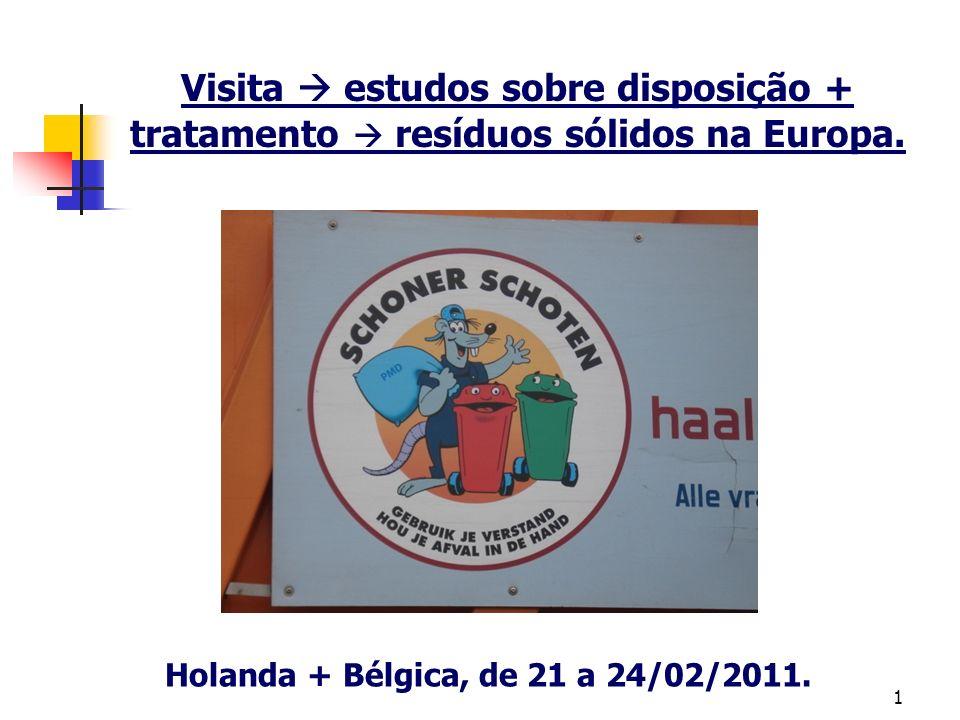 1 Visita estudos sobre disposição + tratamento resíduos sólidos na Europa. Holanda + Bélgica, de 21 a 24/02/2011.