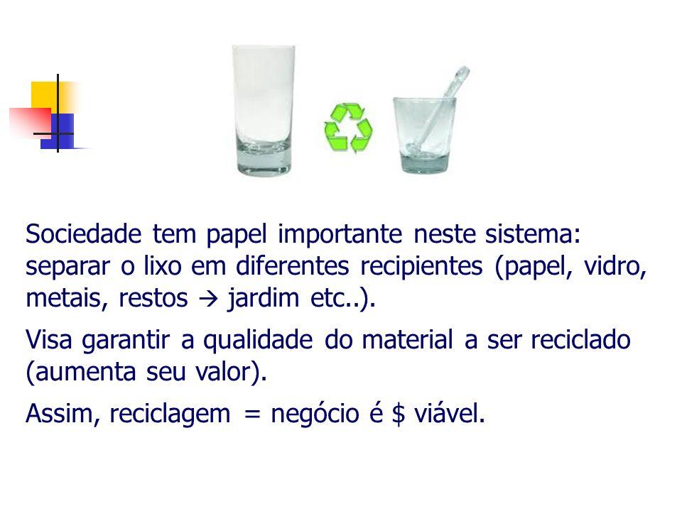 Sociedade tem papel importante neste sistema: separar o lixo em diferentes recipientes (papel, vidro, metais, restos jardim etc..). Visa garantir a qu