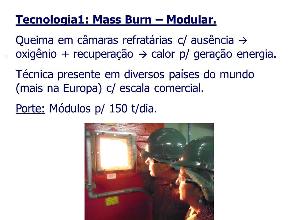18 Tecnologia1: Mass Burn – Modular. Queima em câmaras refratárias c/ ausência oxigênio + recuperação calor p/ geração energia. Técnica presente em di