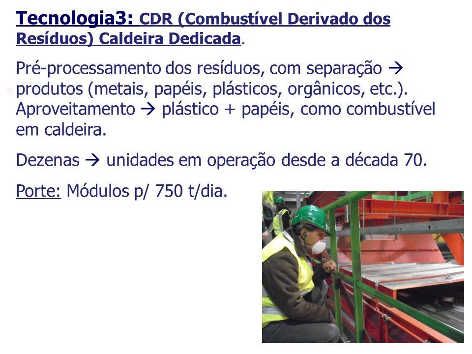 20 Tecnologia3: CDR (Combustível Derivado dos Resíduos) Caldeira Dedicada. Pré-processamento dos resíduos, com separação produtos (metais, papéis, plá