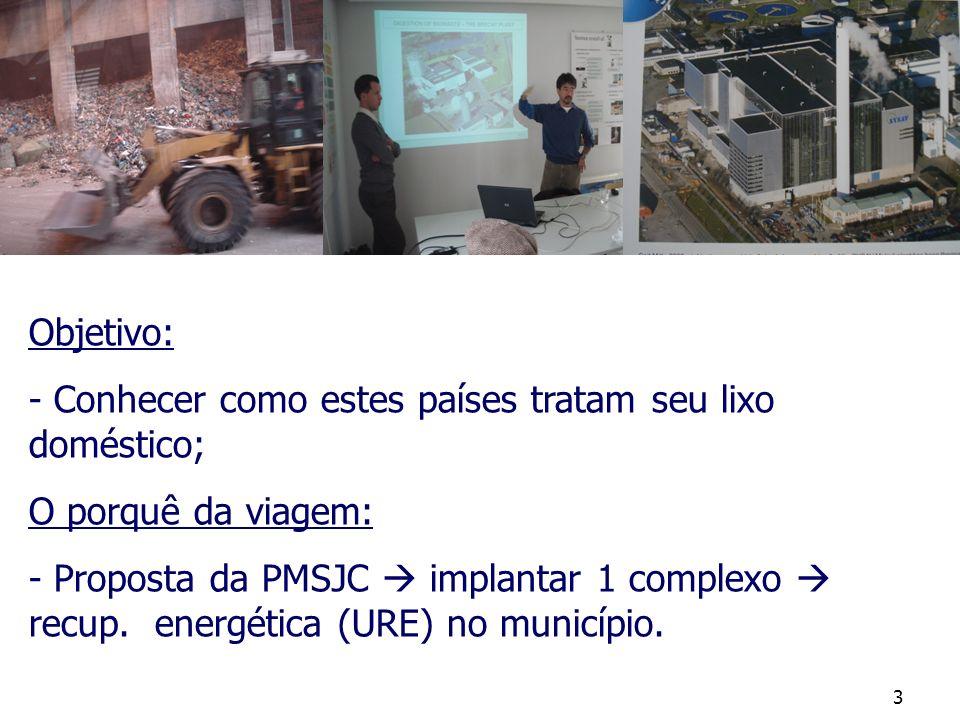 3 Objetivo: - Conhecer como estes países tratam seu lixo doméstico; O porquê da viagem: - Proposta da PMSJC implantar 1 complexo recup. energética (UR