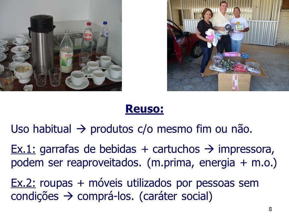 8 Reuso: Uso habitual produtos c/o mesmo fim ou não. Ex.1: garrafas de bebidas + cartuchos impressora, podem ser reaproveitados. (m.prima, energia + m