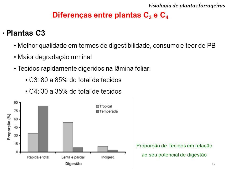 Fisiologia de plantas forrageiras 17 Diferenças entre plantas C 3 e C 4 Plantas C3 Melhor qualidade em termos de digestibilidade, consumo e teor de PB
