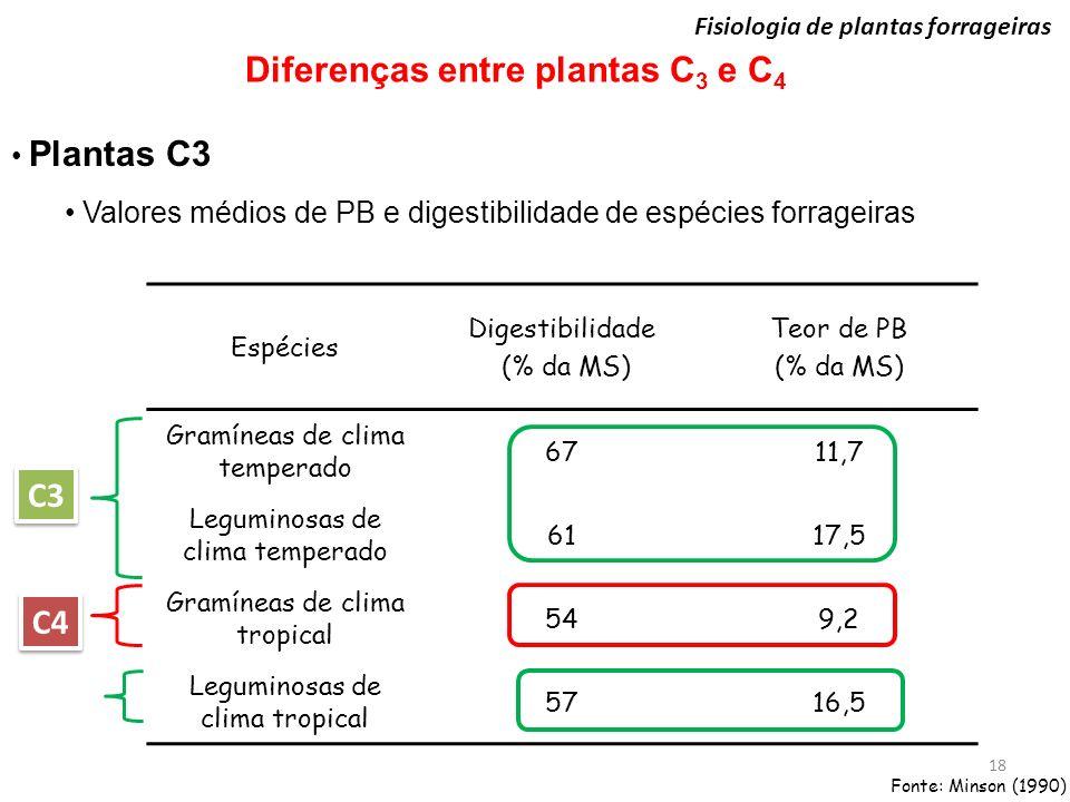 Fisiologia de plantas forrageiras 18 Diferenças entre plantas C 3 e C 4 Plantas C3 Valores médios de PB e digestibilidade de espécies forrageiras Espé