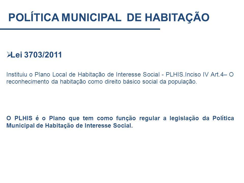 Lei 3703/2011 Instituiu o Plano Local de Habitação de Interesse Social - PLHIS.Inciso IV Art.4– O reconhecimento da habitação como direito básico soci