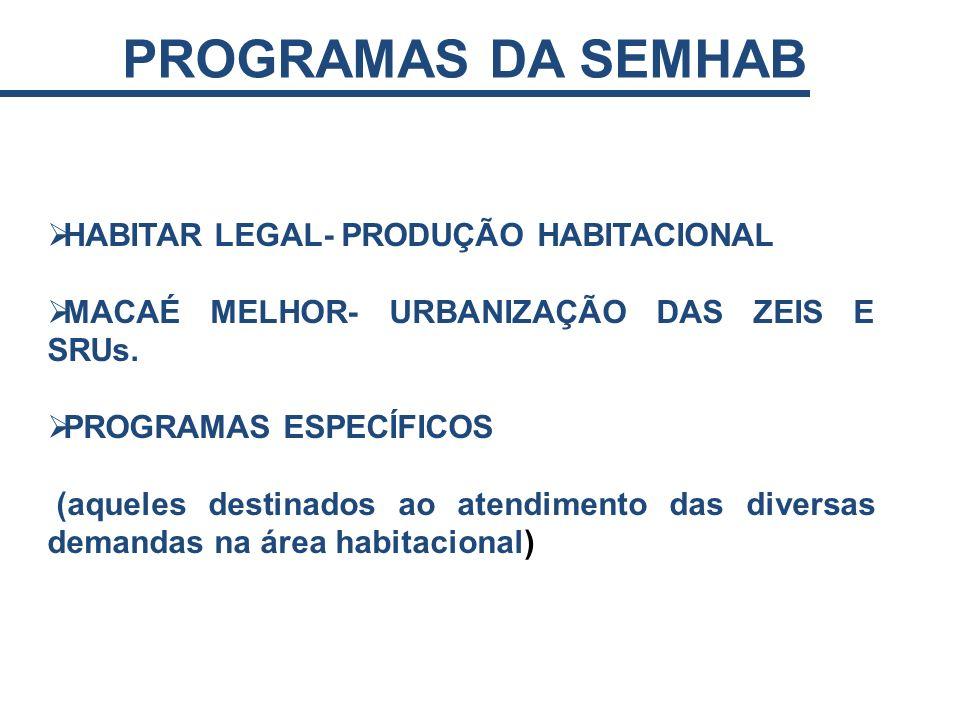 HABITAR LEGAL- PRODUÇÃO HABITACIONAL MACAÉ MELHOR- URBANIZAÇÃO DAS ZEIS E SRUs. PROGRAMAS ESPECÍFICOS (aqueles destinados ao atendimento das diversas