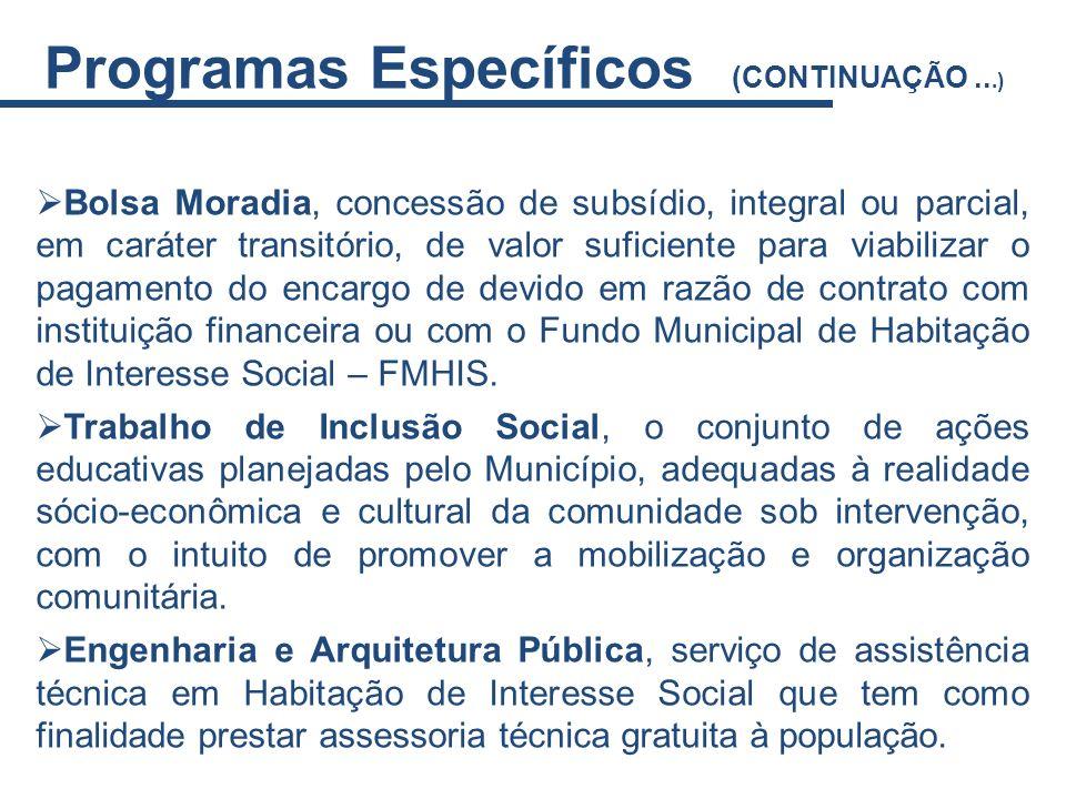 Bolsa Moradia, concessão de subsídio, integral ou parcial, em caráter transitório, de valor suficiente para viabilizar o pagamento do encargo de devid