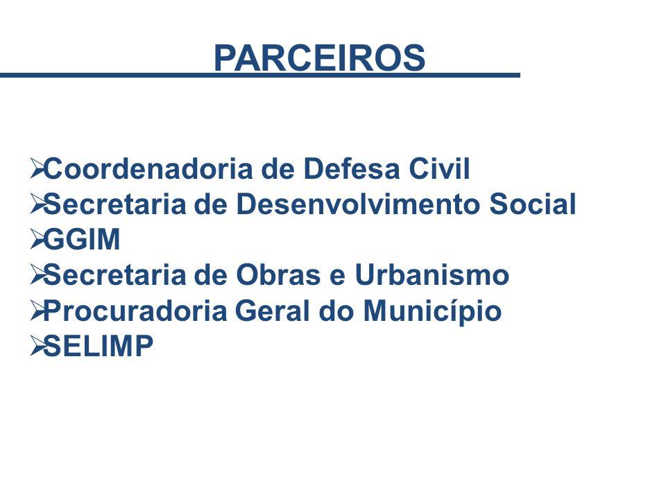 PARCEIROS Coordenadoria de Defesa Civil Secretaria de Desenvolvimento Social GGIM Secretaria de Obras e Urbanismo Procuradoria Geral do Município SELI