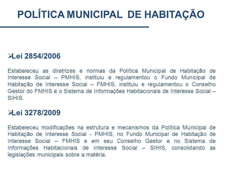 POLÍTICA MUNICIPAL DE HABITAÇÃO Lei 2854/2006 Estabeleceu as diretrizes e normas da Política Municipal de Habitação de Interesse Social – PMHIS, insti