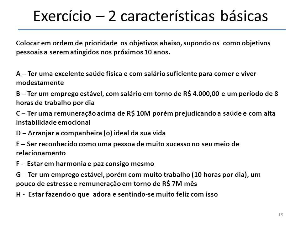 Exercício – 2 características básicas Colocar em ordem de prioridade os objetivos abaixo, supondo os como objetivos pessoais a serem atingidos nos pró