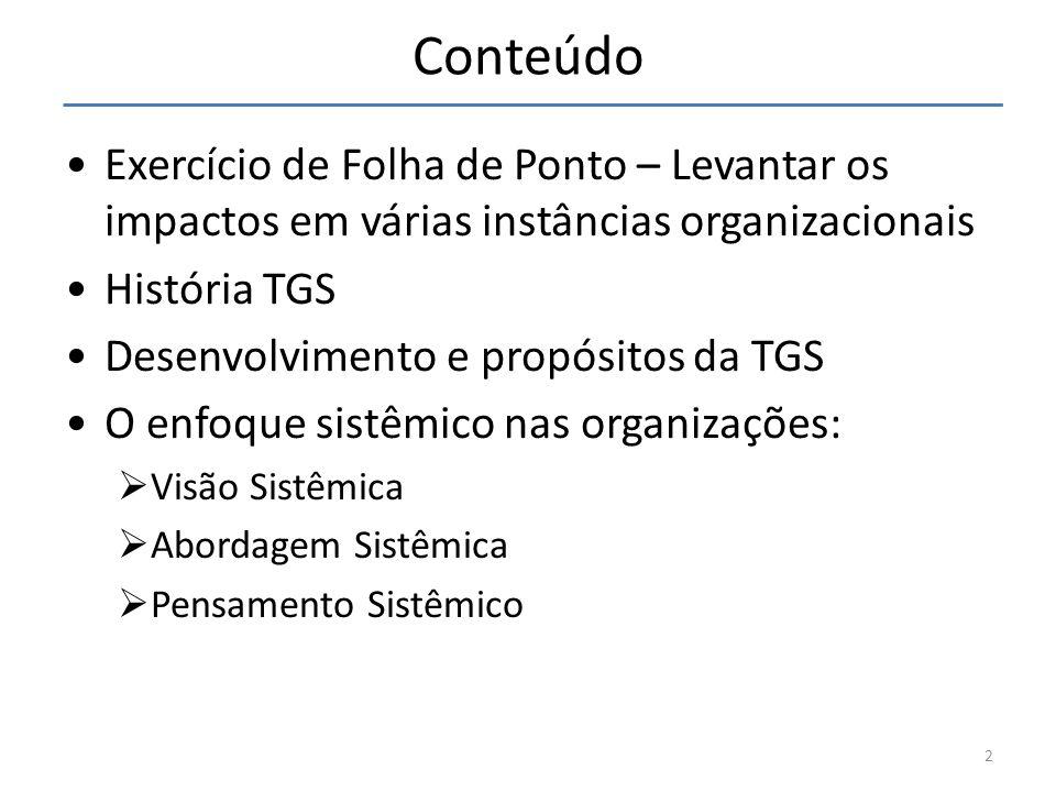 Conteúdo Exercício de Folha de Ponto – Levantar os impactos em várias instâncias organizacionais História TGS Desenvolvimento e propósitos da TGS O en
