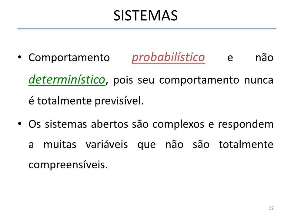 SISTEMAS Comportamento probabilístico e não determinístico, pois seu comportamento nunca é totalmente previsível. Os sistemas abertos são complexos e