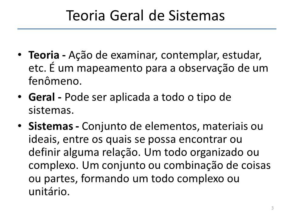 3 Teoria Geral de Sistemas Teoria - Ação de examinar, contemplar, estudar, etc. É um mapeamento para a observação de um fenômeno. Geral - Pode ser apl