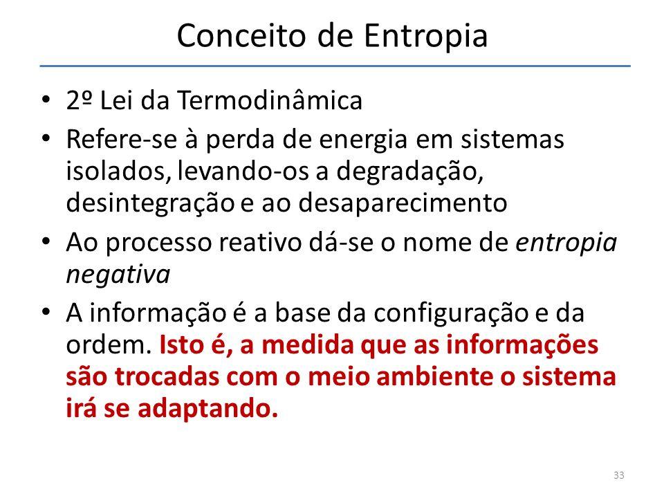 Conceito de Entropia 2º Lei da Termodinâmica Refere-se à perda de energia em sistemas isolados, levando-os a degradação, desintegração e ao desapareci