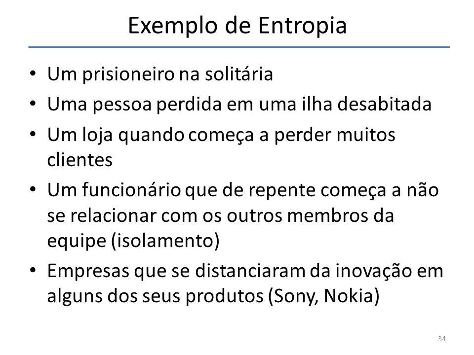 Exemplo de Entropia Um prisioneiro na solitária Uma pessoa perdida em uma ilha desabitada Um loja quando começa a perder muitos clientes Um funcionári