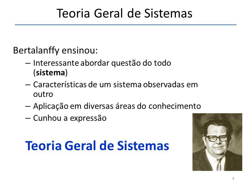 4 Teoria Geral de Sistemas Bertalanffy ensinou: – Interessante abordar questão do todo (sistema) – Características de um sistema observadas em outro –