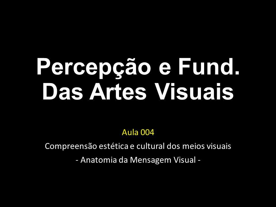 Percepção e Fund. Das Artes Visuais Aula 004 Compreensão estética e cultural dos meios visuais - Anatomia da Mensagem Visual -