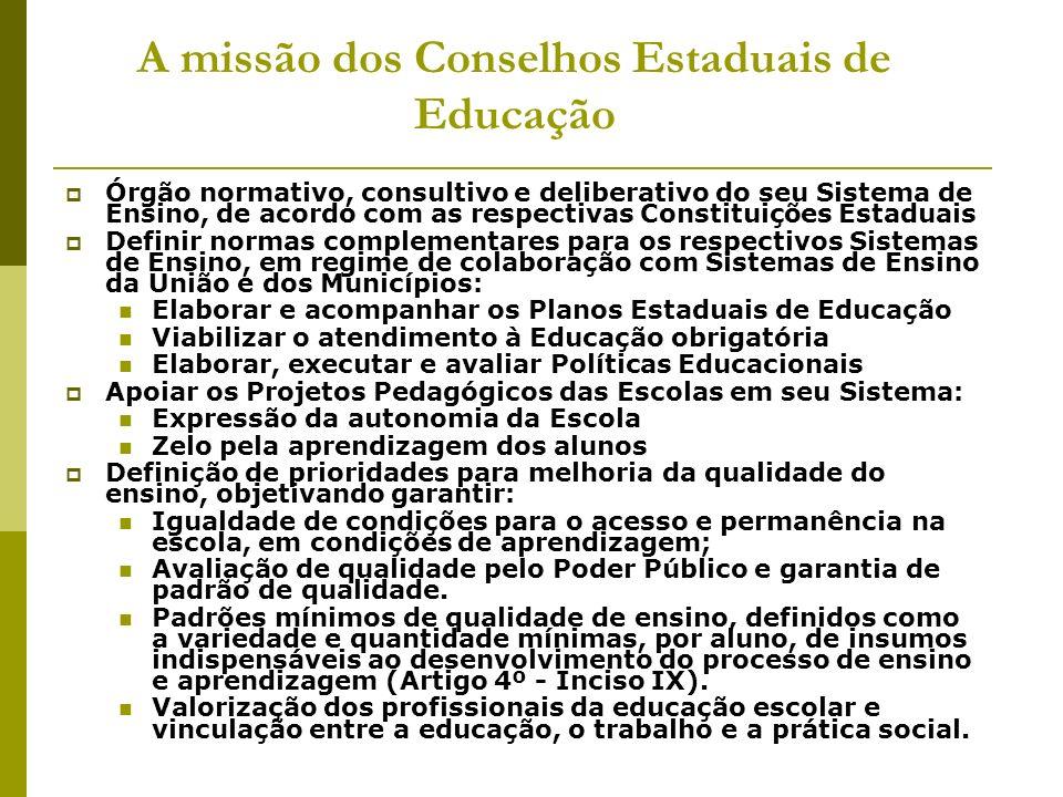 A missão dos Conselhos Estaduais de Educação Órgão normativo, consultivo e deliberativo do seu Sistema de Ensino, de acordo com as respectivas Constit