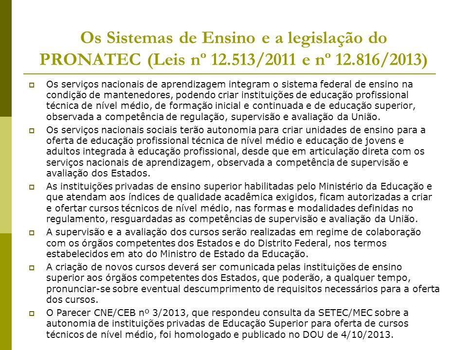 Os Sistemas de Ensino e a legislação do PRONATEC (Leis nº 12.513/2011 e nº 12.816/2013) Os serviços nacionais de aprendizagem integram o sistema feder