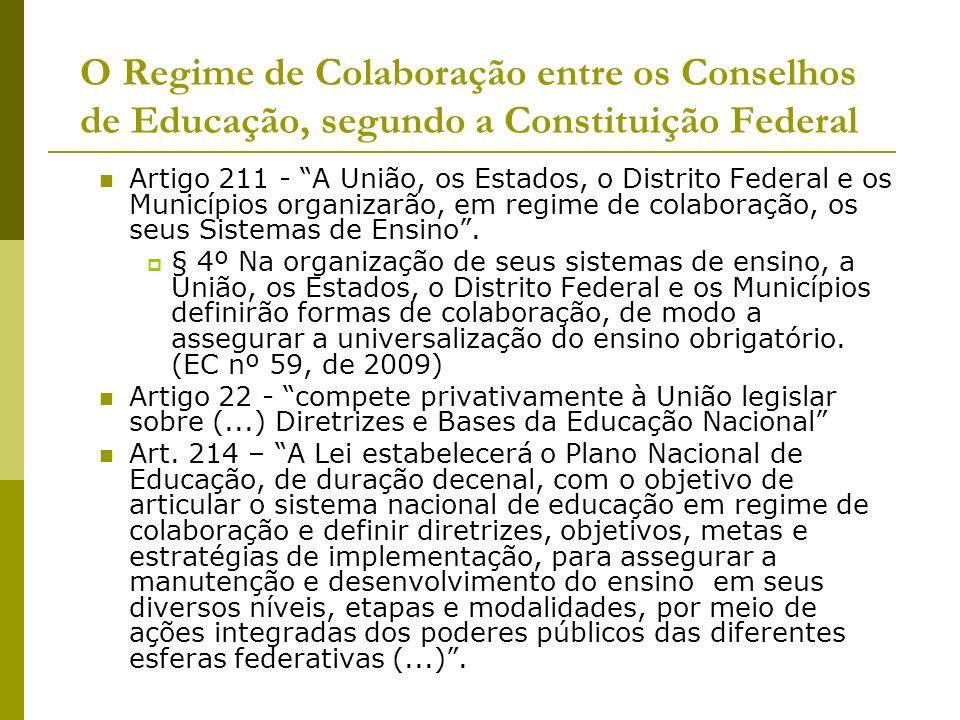 O Regime de Colaboração entre os Conselhos de Educação, segundo a Constituição Federal Artigo 211 - A União, os Estados, o Distrito Federal e os Munic