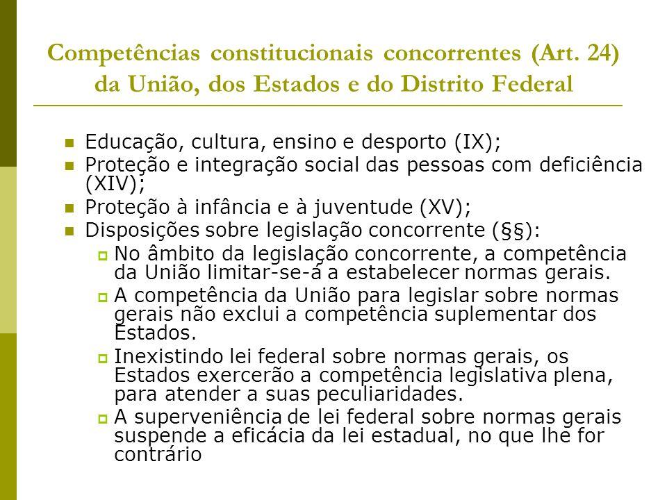 Competências constitucionais concorrentes (Art. 24) da União, dos Estados e do Distrito Federal Educação, cultura, ensino e desporto (IX); Proteção e