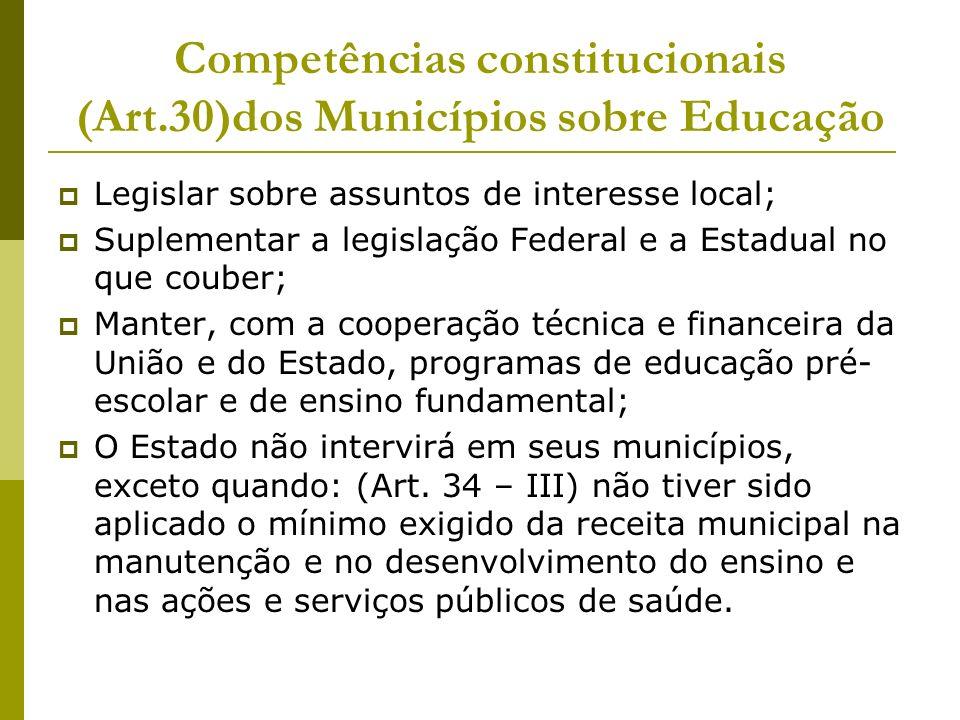 Competências constitucionais (Art.30)dos Municípios sobre Educação Legislar sobre assuntos de interesse local; Suplementar a legislação Federal e a Es