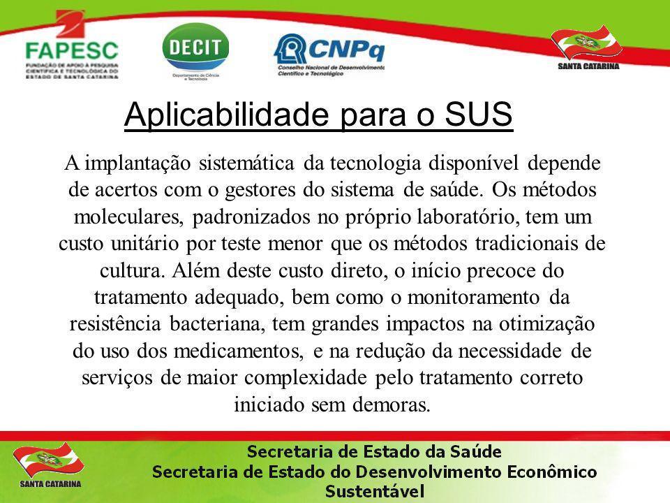 Aplicabilidade para o SUS A implantação sistemática da tecnologia disponível depende de acertos com o gestores do sistema de saúde. Os métodos molecul