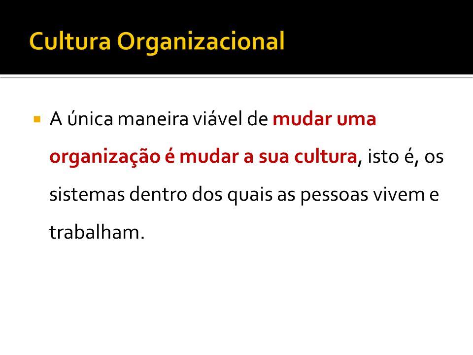 A única maneira viável de mudar uma organização é mudar a sua cultura, isto é, os sistemas dentro dos quais as pessoas vivem e trabalham.