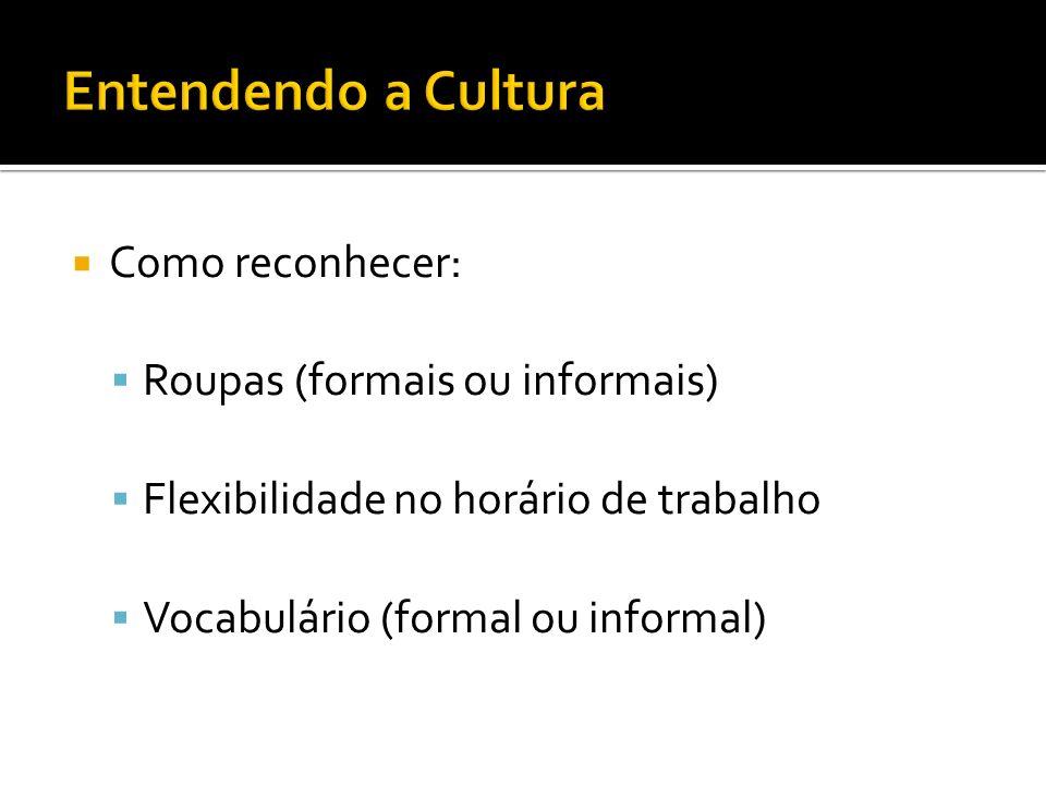 Como reconhecer: Roupas (formais ou informais) Flexibilidade no horário de trabalho Vocabulário (formal ou informal)