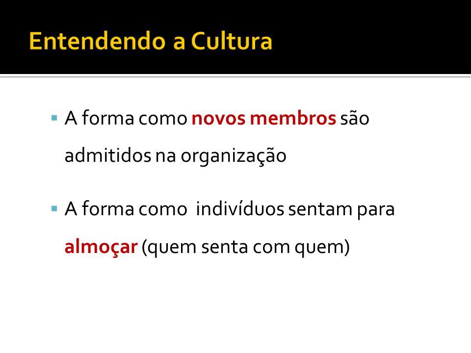 A forma como novos membros são admitidos na organização A forma como indivíduos sentam para almoçar (quem senta com quem)