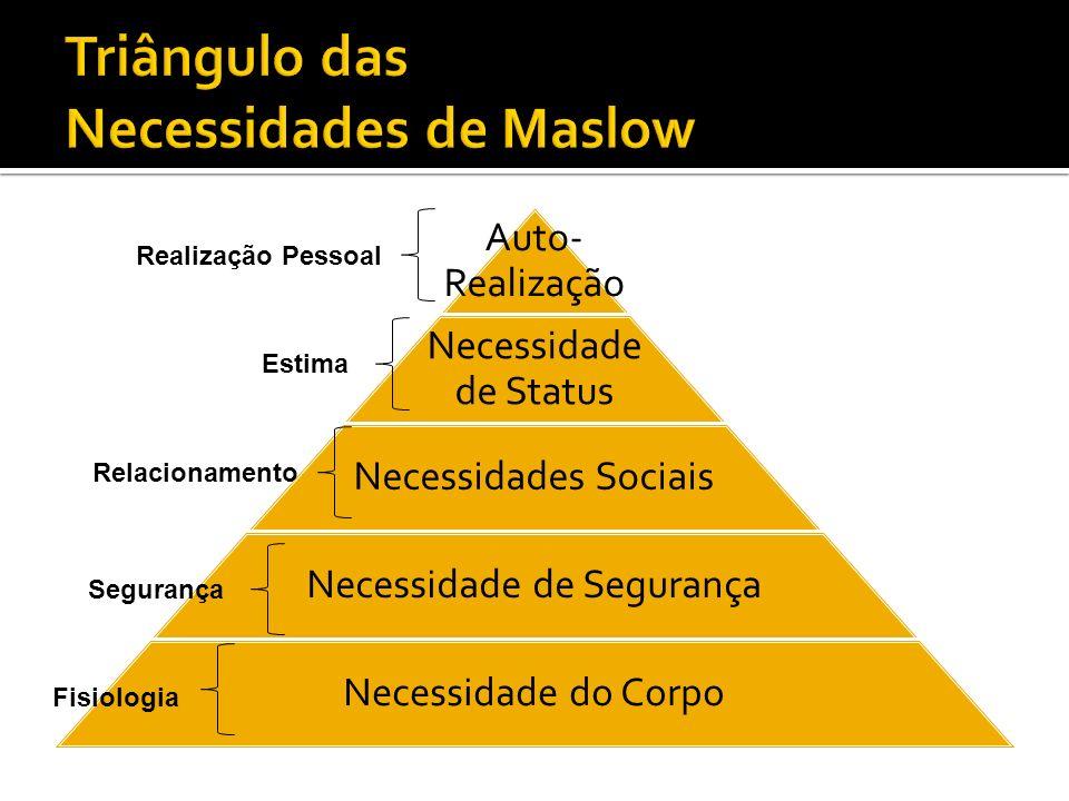Auto- Realização Necessidade de Status Necessidades Sociais Necessidade de Segurança Necessidade do Corpo Realização Pessoal Estima Relacionamento Seg