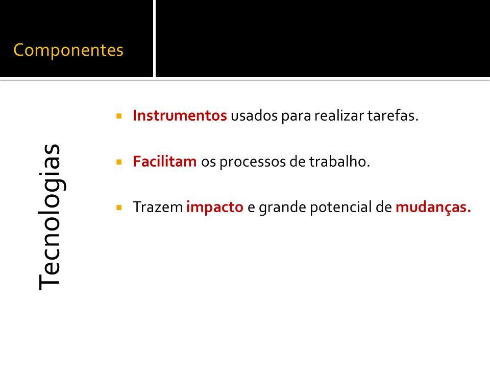 Componentes Instrumentos usados para realizar tarefas. Facilitam os processos de trabalho. Trazem impacto e grande potencial de mudanças. Tecnologias