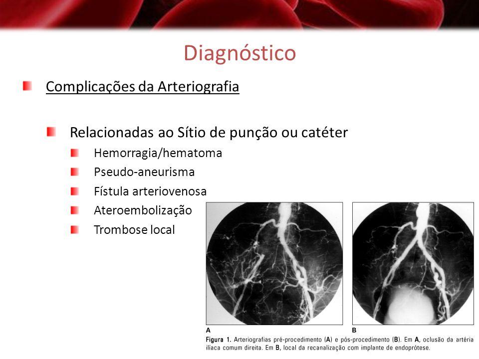 Diagnóstico Complicações da Arteriografia Relacionadas ao Sítio de punção ou catéter Hemorragia/hematoma Pseudo-aneurisma Fístula arteriovenosa Ateroe