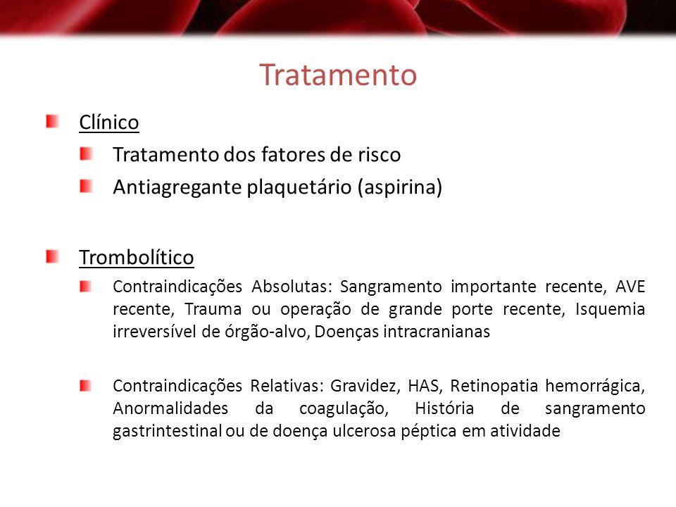 Tratamento Clínico Tratamento dos fatores de risco Antiagregante plaquetário (aspirina) Trombolítico Contraindicações Absolutas: Sangramento important