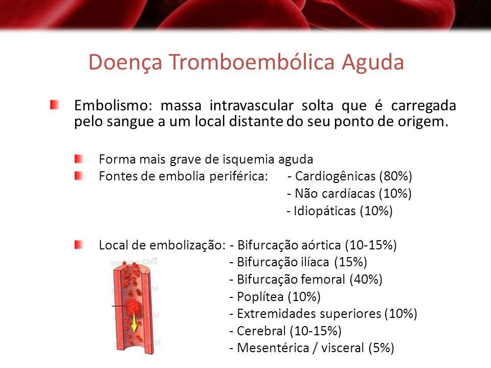 Doença Tromboembólica Aguda Embolismo: massa intravascular solta que é carregada pelo sangue a um local distante do seu ponto de origem. Forma mais gr