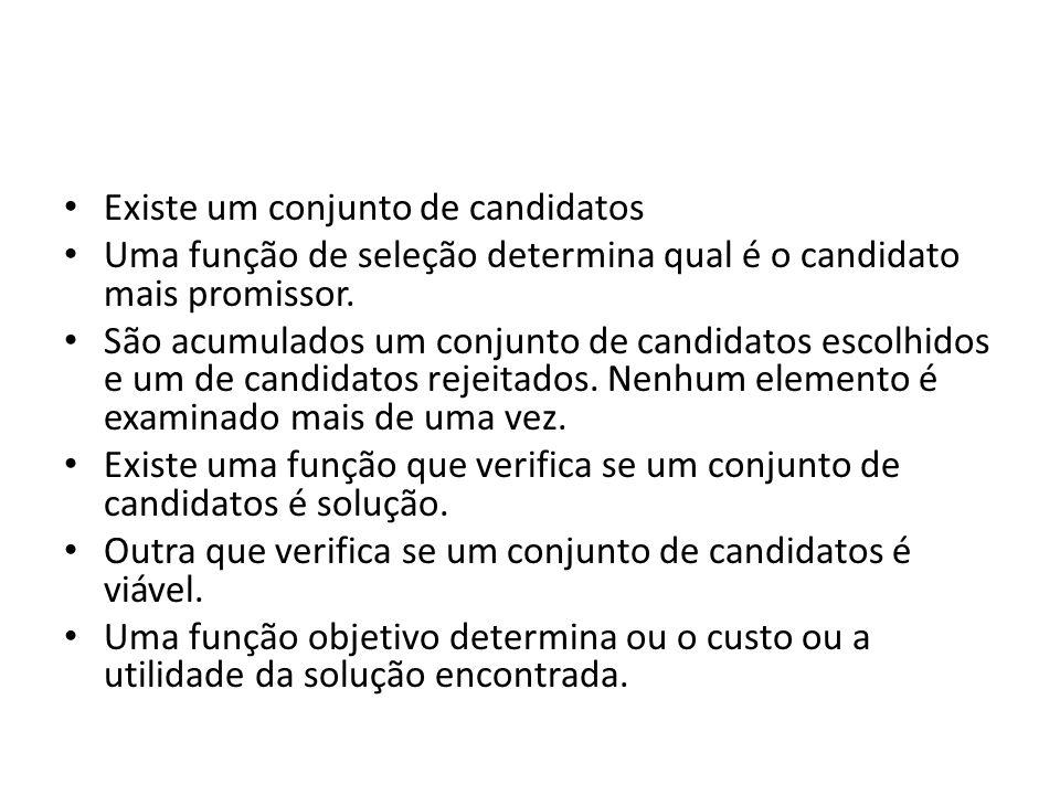 Existe um conjunto de candidatos Uma função de seleção determina qual é o candidato mais promissor. São acumulados um conjunto de candidatos escolhido